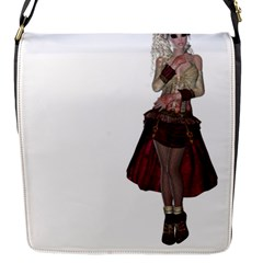 Steampunk Style Girl Wearing Red Dress Flap Closure Messenger Bag (small)