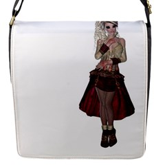 Steampunk Style Girl Wearing Red Dress Removable Flap Cover (Small)