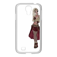 Steampunk Style Girl Wearing Red Dress Samsung GALAXY S4 I9500/ I9505 Case (White)