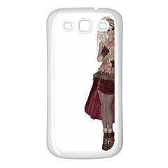 Steampunk Style Girl Wearing Red Dress Samsung Galaxy S3 Back Case (white)