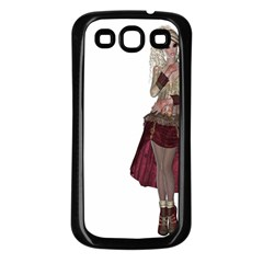 Steampunk Style Girl Wearing Red Dress Samsung Galaxy S3 Back Case (black)