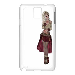 Steampunk Style Girl Wearing Red Dress Samsung Galaxy Note 3 Case (White)