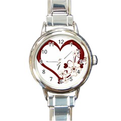 Red Love Heart With Flowers Romantic Valentine Birthday Round Italian Charm Watch