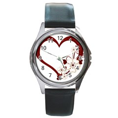 Red Love Heart With Flowers Romantic Valentine Birthday Round Leather Watch (silver Rim)