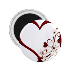 Red Love Heart With Flowers Romantic Valentine Birthday 2.25  Button Magnet