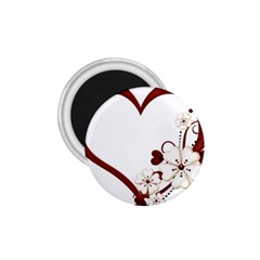 Red Love Heart With Flowers Romantic Valentine Birthday 1.75  Button Magnet