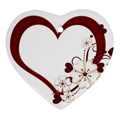 Red Love Heart With Flowers Romantic Valentine Birthday Heart Ornament
