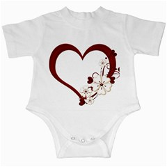 Red Love Heart With Flowers Romantic Valentine Birthday Infant Bodysuit
