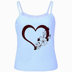 Red Love Heart With Flowers Romantic Valentine Birthday Baby Blue Spaghetti Tank