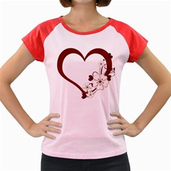 Red Love Heart With Flowers Romantic Valentine Birthday Women s Cap Sleeve T-Shirt (Colored)