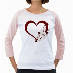 Red Love Heart With Flowers Romantic Valentine Birthday Women s Long Cap Sleeve T Shirt (white)