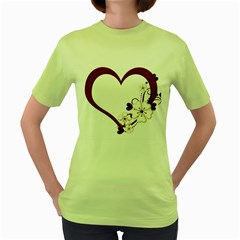 Red Love Heart With Flowers Romantic Valentine Birthday Women s T-shirt (Green)