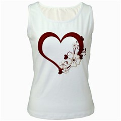 Red Love Heart With Flowers Romantic Valentine Birthday Women s Tank Top (White)