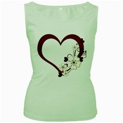 Red Love Heart With Flowers Romantic Valentine Birthday Women s Tank Top (Green)