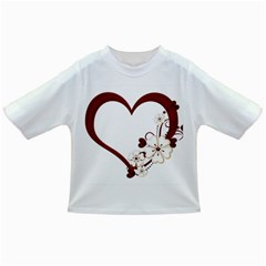 Red Love Heart With Flowers Romantic Valentine Birthday Baby T-shirt