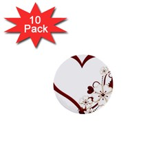 Red Love Heart With Flowers Romantic Valentine Birthday 1  Mini Button (10 pack)