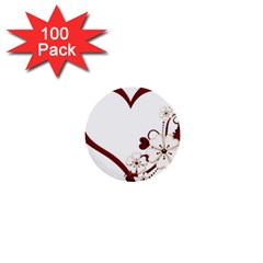 Red Love Heart With Flowers Romantic Valentine Birthday 1  Mini Button (100 pack)