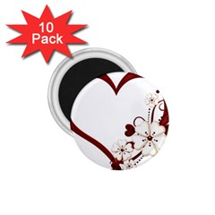Red Love Heart With Flowers Romantic Valentine Birthday 1.75  Button Magnet (10 pack)
