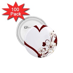 Red Love Heart With Flowers Romantic Valentine Birthday 1.75  Button (100 pack)