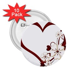 Red Love Heart With Flowers Romantic Valentine Birthday 2.25  Button (10 pack)