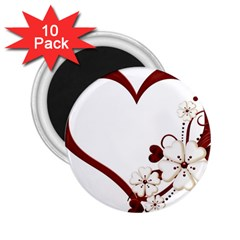 Red Love Heart With Flowers Romantic Valentine Birthday 2.25  Button Magnet (10 pack)