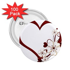 Red Love Heart With Flowers Romantic Valentine Birthday 2.25  Button (100 pack)