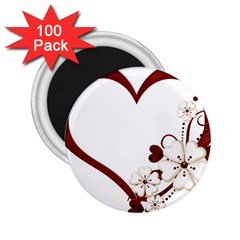 Red Love Heart With Flowers Romantic Valentine Birthday 2.25  Button Magnet (100 pack)