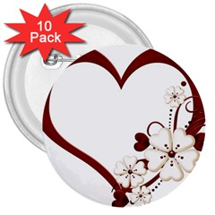 Red Love Heart With Flowers Romantic Valentine Birthday 3  Button (10 pack)