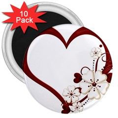 Red Love Heart With Flowers Romantic Valentine Birthday 3  Button Magnet (10 pack)