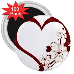 Red Love Heart With Flowers Romantic Valentine Birthday 3  Button Magnet (100 Pack)