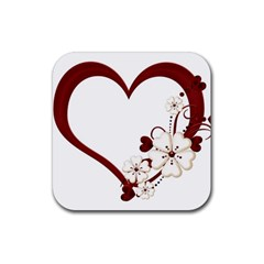 Red Love Heart With Flowers Romantic Valentine Birthday Drink Coasters 4 Pack (Square)