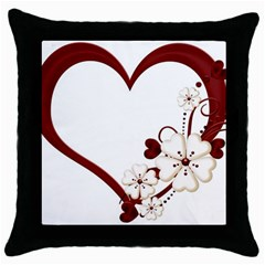 Red Love Heart With Flowers Romantic Valentine Birthday Black Throw Pillow Case
