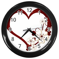 Red Love Heart With Flowers Romantic Valentine Birthday Wall Clock (Black)