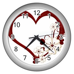 Red Love Heart With Flowers Romantic Valentine Birthday Wall Clock (silver)