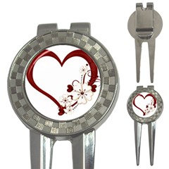 Red Love Heart With Flowers Romantic Valentine Birthday Golf Pitchfork & Ball Marker