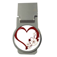 Red Love Heart With Flowers Romantic Valentine Birthday Money Clip (Round)