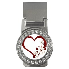Red Love Heart With Flowers Romantic Valentine Birthday Money Clip (CZ)