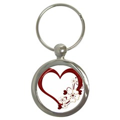 Red Love Heart With Flowers Romantic Valentine Birthday Key Chain (round)