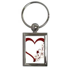 Red Love Heart With Flowers Romantic Valentine Birthday Key Chain (Rectangle)