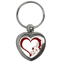Red Love Heart With Flowers Romantic Valentine Birthday Key Chain (heart)