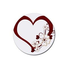 Red Love Heart With Flowers Romantic Valentine Birthday Drink Coasters 4 Pack (Round)