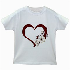 Red Love Heart With Flowers Romantic Valentine Birthday Kids T-shirt (White)