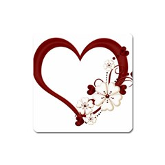 Red Love Heart With Flowers Romantic Valentine Birthday Magnet (square)
