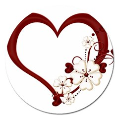Red Love Heart With Flowers Romantic Valentine Birthday Magnet 5  (round)