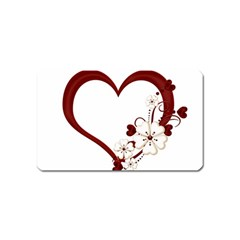 Red Love Heart With Flowers Romantic Valentine Birthday Magnet (name Card)