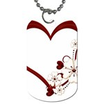 Red Love Heart With Flowers Romantic Valentine Birthday Dog Tag (One Sided) Front