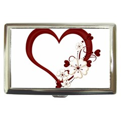 Red Love Heart With Flowers Romantic Valentine Birthday Cigarette Money Case