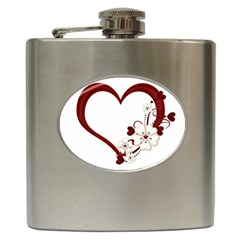 Red Love Heart With Flowers Romantic Valentine Birthday Hip Flask
