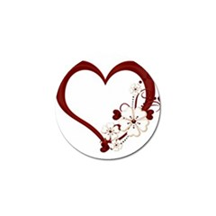 Red Love Heart With Flowers Romantic Valentine Birthday Golf Ball Marker 4 Pack