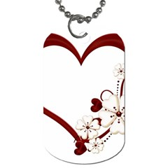 Red Love Heart With Flowers Romantic Valentine Birthday Dog Tag (Two-sided)